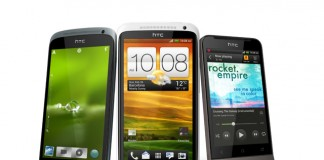 La familia HTC One presentada en el Mobile World Congress 2012.