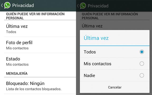 ocultar hora conexión Whatsapp